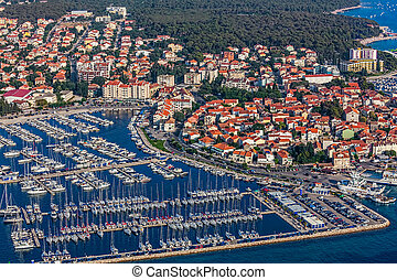 Biograd na moru - Aerial view of small town on Adriatic...