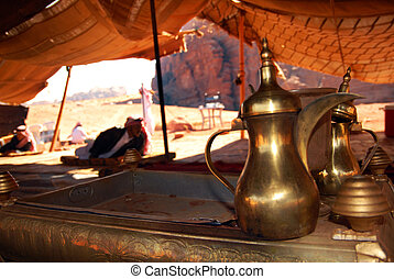 Traditional coffee and tea pot inside a Jordanian bedouin...