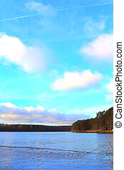 Lake and forrest - Polish lake and forrest in Nierzym Blue...