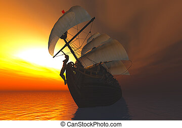 Cutter in the Sea in the Sunset