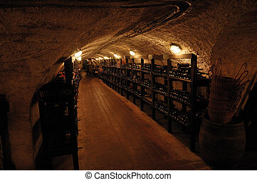 wineshop cellar - cellar of wineshop with shelves with...