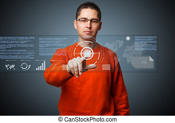 Digital concept - Young man navigating holographic virtual...
