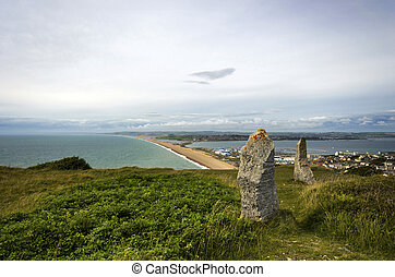 Portland and Chesil Beach - View of Chesil Beach from...