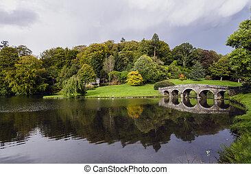 Stourhead Gardens - Lake and bridge at Stourhead in...