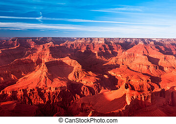 Grand Canyon Sunset - A deep orange sunset at the Grand...