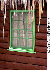Cabin window with icicles