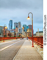 Downtown Minneapolis, Minnesota at night time - MINNEAPOLIS...