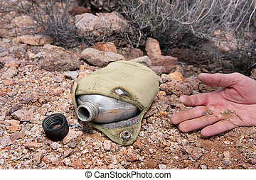 Dead hiker and empty canteen - A hiker in the extreme...