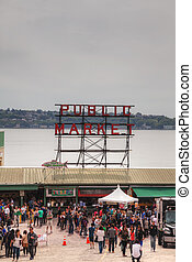 Famous Pike Place Public Market in Seattle - SEATTLE - MAY...