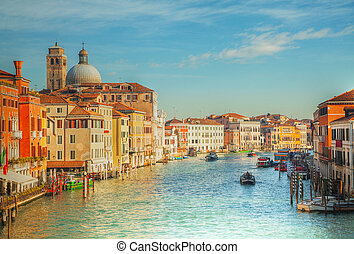 View to Grande Canal in Venice, Italy in the morning