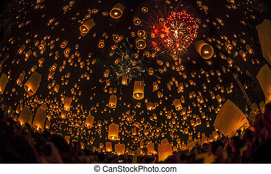 Thai people floating lamp. October 25 ,2012 in...