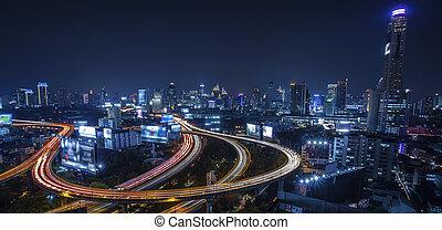 Bangkok city night view with main traffic high way
