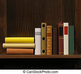 Book shelf - Dark wood book shelf with old books