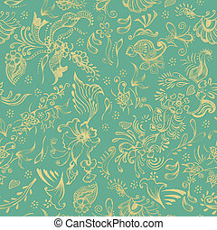 Seamless Floral Background - Off white flowers and swirls on...
