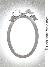 Oval frame - White oval frame with light and bow decor