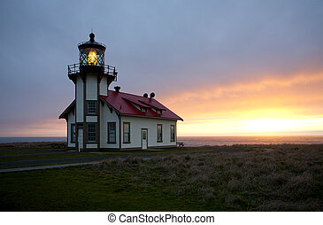 Point Cabrillo Lighthouse - Sunset over the Pacific Ocean at...
