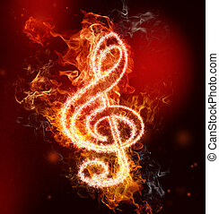 G Clef in Fire - G clef in fire on red and black background