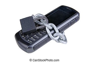 protected mobile - cell phone wrapped in a chain with a...