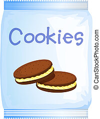 A pack of cookies - Illustration of a pack of cookies on a...