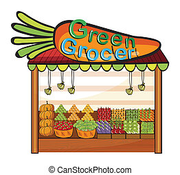 A green grocer shop - Illustration of a green grocer shop on...