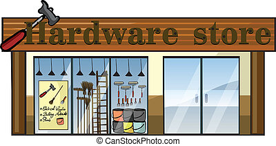 A hardware store - Illustration of a hardware store on a...