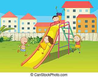 Kids playing on a slide - Illustration of kids playing on a...