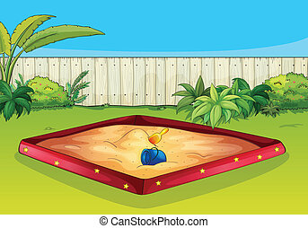 A sandbox - Illustration of  a sandbox in a beautiful garden