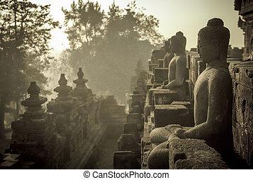 Borobudur, templo, salida del sol, java, indonesia