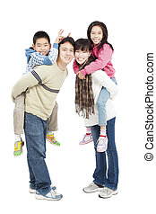 full length of happy asian family isolated on white