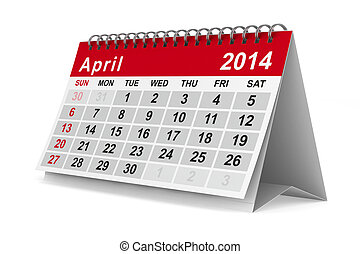 2014 year calendar April Isolated 3D image
