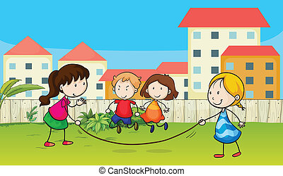 Kids playing rope - Illustration of kids playing rope in a...