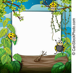 Ladybugs and a white board - Illustration of ladybugs and a...
