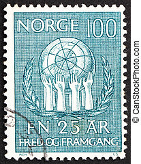 NORWAY - CIRCA 1970: a stamp printed in the Norway shows...