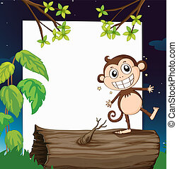 A smiling monkey and a white board - Illustration of a...