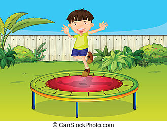 A boy - Illustration of a boy jumoing on a trampoline in a...
