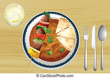 A meat, a bean curry and a bread - Illustration of a meat, a...