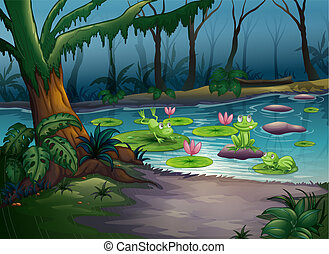 Frogs and a river - Illustration of frogs and a river in a...