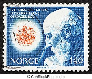 Postage stamp Norway 1973 Dr. Armauer G. Hansen - NORWAY -...
