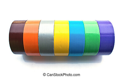 many color adhesive tape isolated on white - many color...
