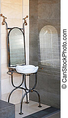 Ironwork basin - Self standing basin with mirror in ironwork...