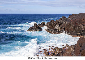 rough cliffs at the shore of Lanzarote - rough cliffs at the...