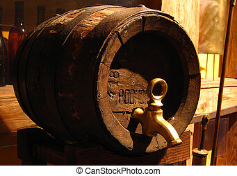 Old wooden beer keg - Old barrel keg for beer made of wood...