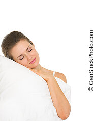 Young woman sleeping on pillow isolated on white