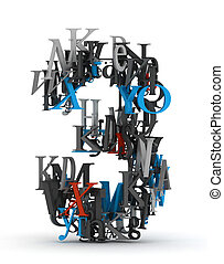 Number 3 made from 3d letters - Shape of number one made...
