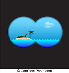 View of the island via field-glass, vector Eps10...