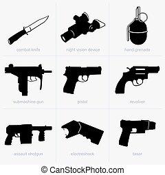 mão, armas