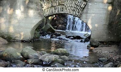 water flow mill arch - stream brook water flow run cascade...
