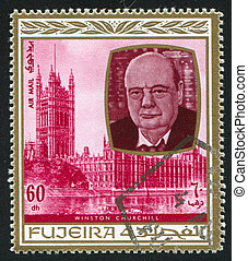 Winston Churchill - FUJEIRA - CIRCA 1976: stamp printed by...
