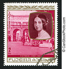 Queen Victoria - FUJEIRA - CIRCA 1976: stamp printed by...