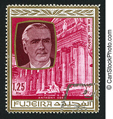 Anthony Eden - FUJEIRA - CIRCA 1976: stamp printed by...